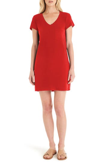 Women's Michael Stars V-Neck Jersey Minidress, Size Medium - Red