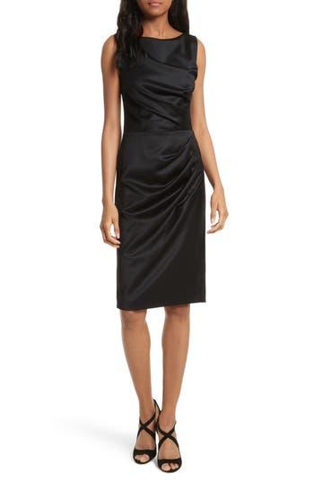 Alice + Olivia Klara Drape Stretch Wool Sheath Dress, Black