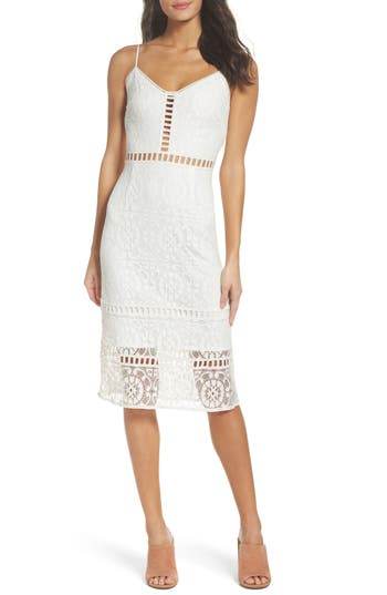 Nsr Cotton Blend Sheath Dress, White