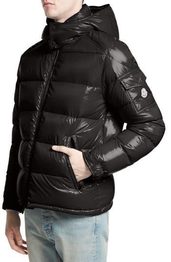 Moncler Maya Lacquered Down Jacket, Black