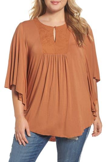 Plus Size Women's Melissa Mccarthy Seven7 Embroidered Bib Top, Size 1X - Brown