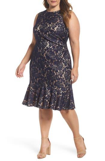 Plus Size Eliza J Side Pleat Lace Dress, Blue