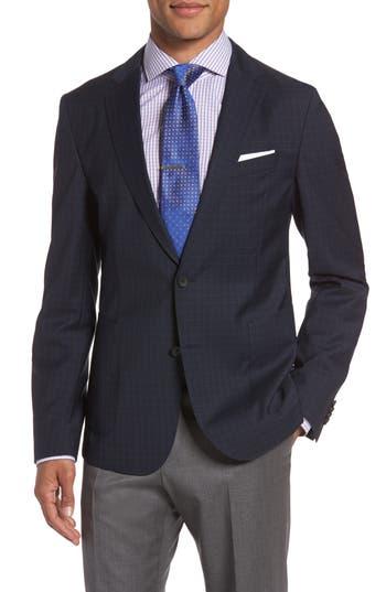 Boss Nold 8 Trim Fit Windowpane Wool Sport Coat, S - Blue