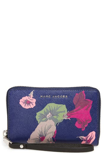 Women's Marc Jacobs Morning Glories Saffiano Leather Smartphone Wristlet - Blue