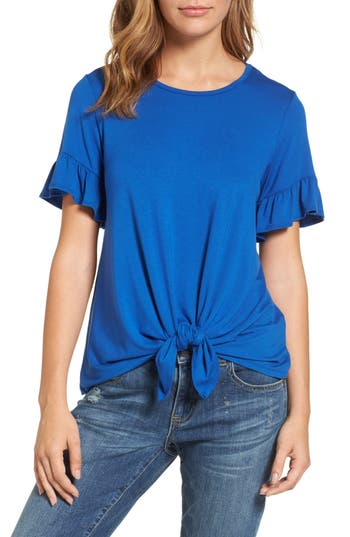 Women's Bobeau Bell Sleeve Tie Front Top, Size X-Small - Blue