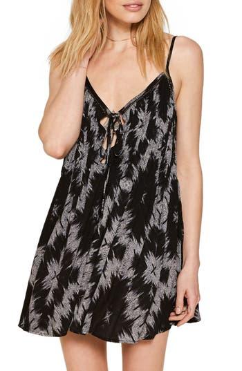Amuse Society Baja Lace-Up Swing Dress, Black