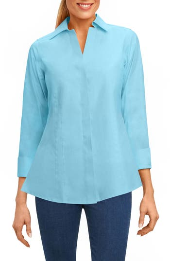 Foxcroft Fitted Non-Iron Shirt, Blue/green