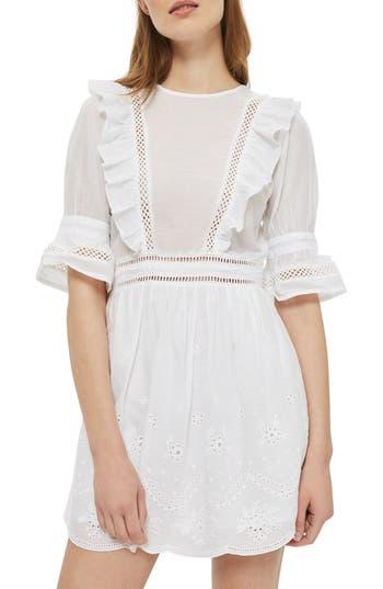 Topshop Broderie Ruffle Minidress, US (fits like 2-4) - White