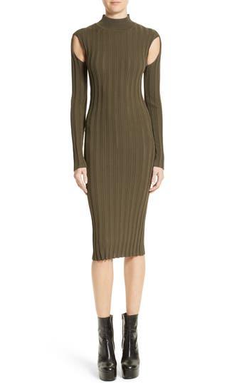 Mcq Alexander Mcqueen Cutout Knit Dress, Green