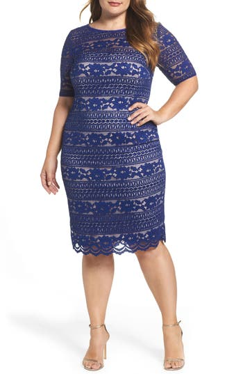 Plus Size Adrianna Papell Illusion Sleeve Lace Sheath Dress, Blue