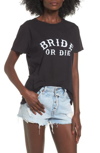 Women's Sub Urban Riot Bride Or Die Graphic Tee, Size Small - Black