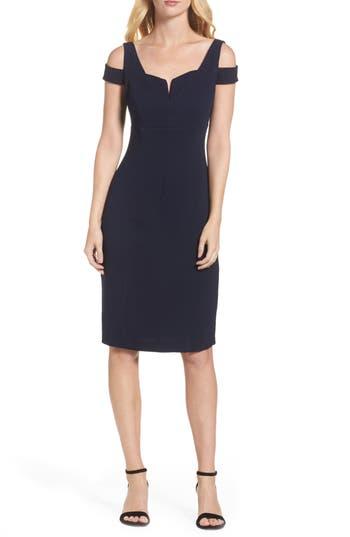 Adrianna Papell Cold Shoulder Crepe Sheath Dress, Blue