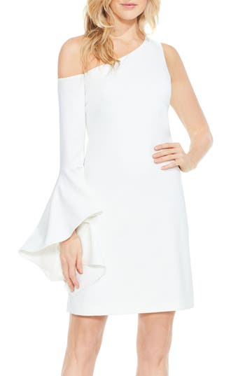 Vince Camuto One-Shoulder Sheath Dress, White