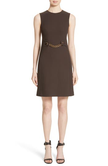 Michael Kors Chain Waist Stretch Boucle Crepe Sheath Dress