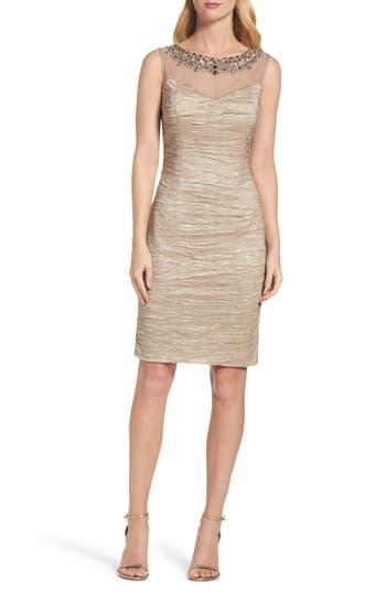 Eliza J Embellished Sheath Dress, Beige