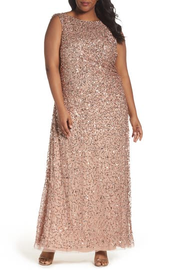 Plus Size Adrianna Papell Sequin Cowl Back Gown