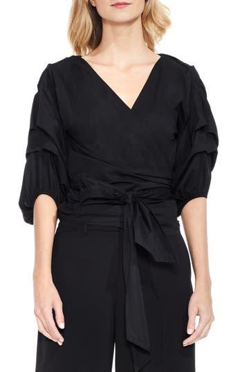 Women's Vince Camuto Bubble Sleeve Wrap Blouse, Size X-Small - Black