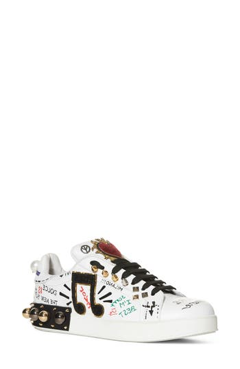 Dolce & gabbana Mixed Media Sneaker - White