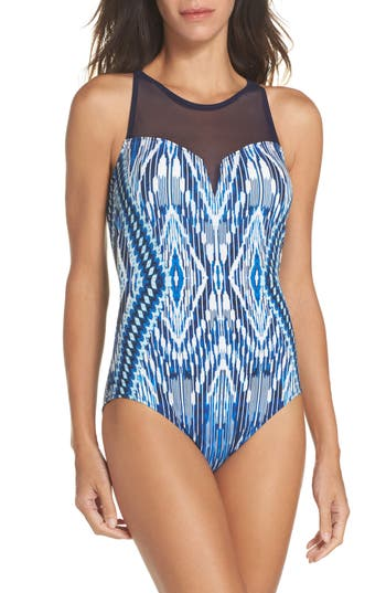 Profile By Gottex Java Illusion One-Piece Swimsuit, Blue