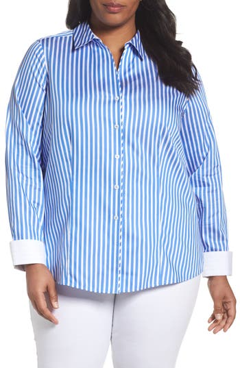 Plus Size Foxcroft Lauren Sateen Stripe Shirt, Blue