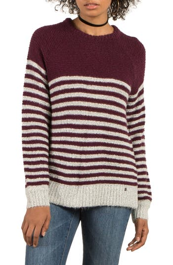 Volcom Cold Daze Stripe Sweater, Burgundy