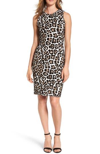 Michael Michael Kors Animal Print Sheath Dress, Brown