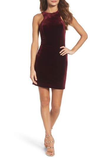 La Femme High Neck Velvet Body-Con Dress, Red
