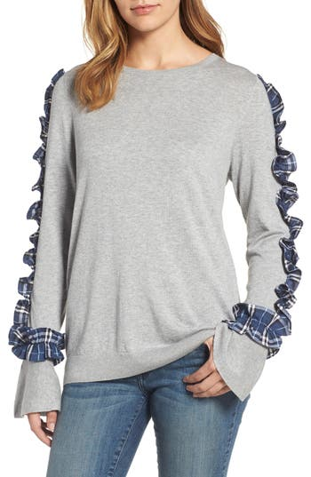 Halogen Ruffle Sweater, Grey