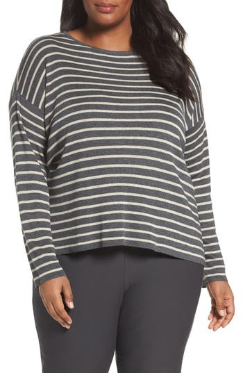 Plus Size Eileen Fisher Stripe Tencel & Wool Sweater, Grey