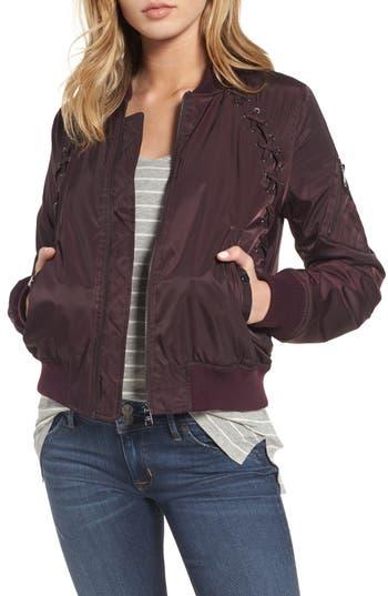 Women's Steve Madden Lace Detail Bomber Jacket, Size Small - Burgundy