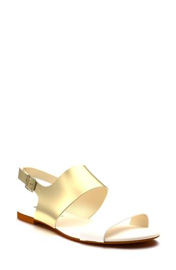 Women's Shoes Of Prey Slingback Flat Sandal, Size 2 B - Metallic
