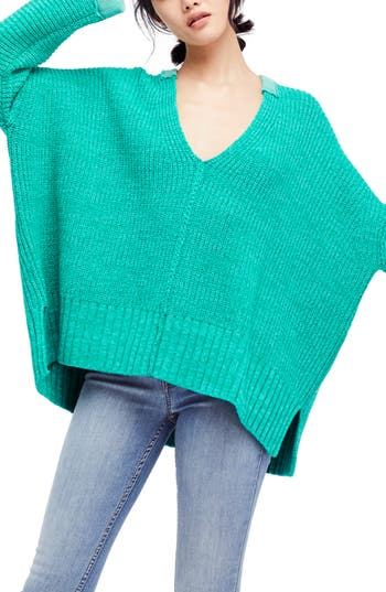 Women's Free People Take Over Me V-Neck Sweater, Size X-Small/Small - Green