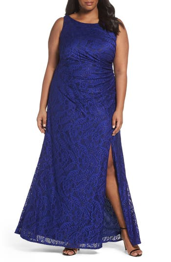 Plus Size Adrianna Papell Cowl Back Stretch Lace Gown, Blue