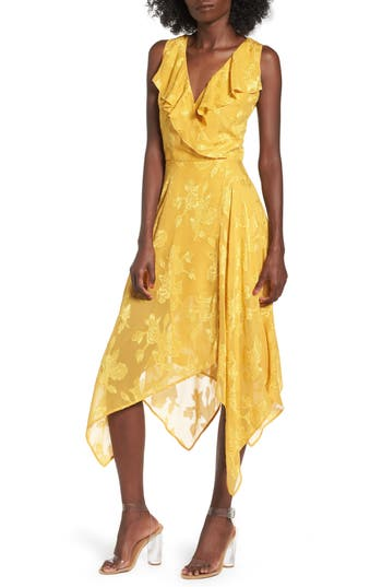 Leith Handkerchief Hem Faux-Wrap Midi Dress, Yellow