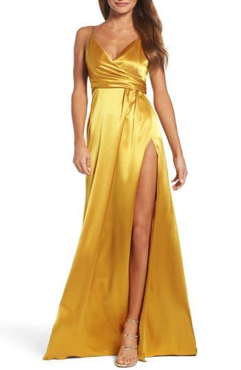 Jill Jill Stuart Faux Wrap Satin Gown, Metallic