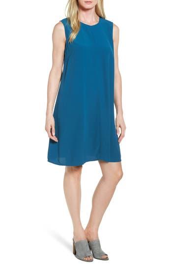 Eileen Fisher Tencel Blend A-Line Shift Dress, Blue/green