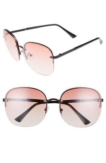 Women's Bp. 60Mm Rimless Square Sunglasses - Black/ Pink