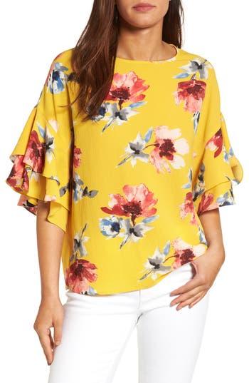 Women's Halogen Ruffle Sleeve Print Top, Size Medium - Yellow