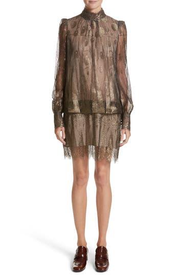 Marc Jacobs Deco Lace Minidress, Metallic