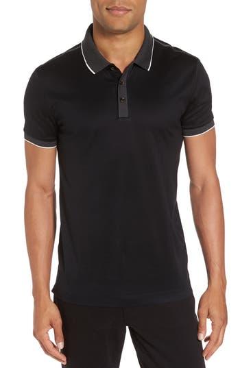 Boss men 39 s orange phillipson slim fit tipped polo in black for Lipson shirt sale 2017