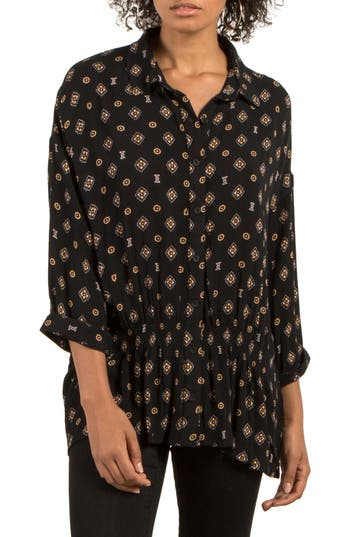 Volcom Champain Trail Print Top, Black
