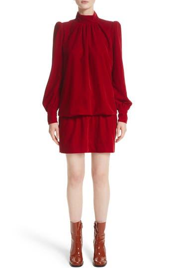 Marc Jacobs Velvet Bishop Sleeve Blouse, Red