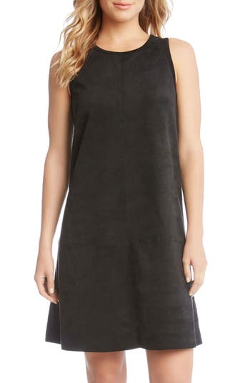 Karen Kane Faux Suede A-Line Dress, Black