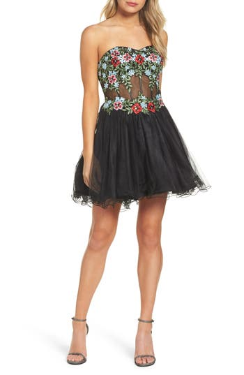 Blondie Nites Embroidered Lace Fit & Flare Dress, Black