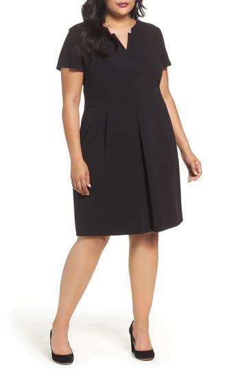 Plus Size Tahari Short Sleeve A-Line Dress, Black