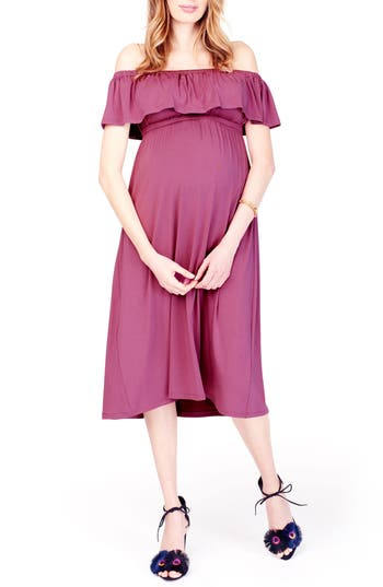 Ingrid & Isabel Off The Shoulder Maternity Midi Dress