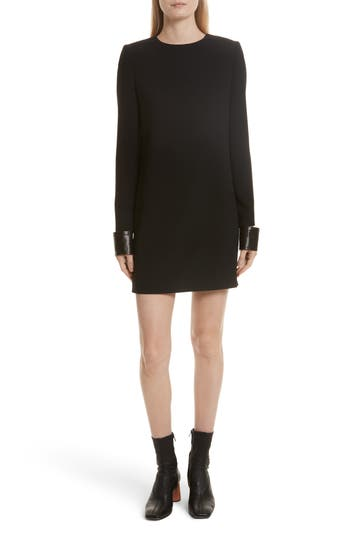 HELMUT LANG Leather Cuff Satin Back Crepe Dress in Black