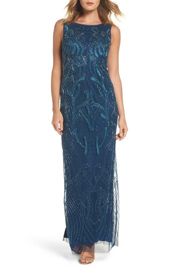 Adrianna Papell Embellished Long Dress, Blue