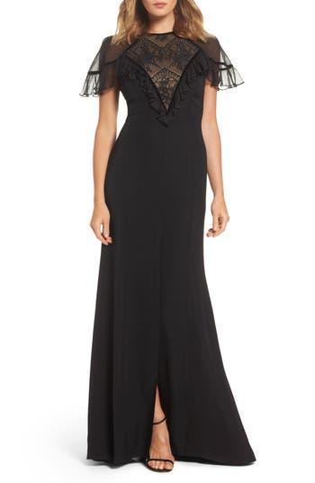 Tadashi Shoji Lace Inset Crepe Gown, Black