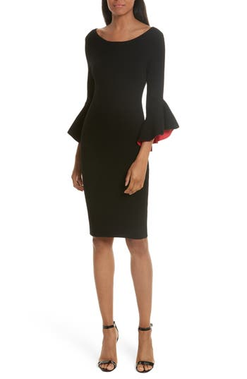 Milly Contrast Lined Bell Sleeve Sheath Dress, Size Petite - Black